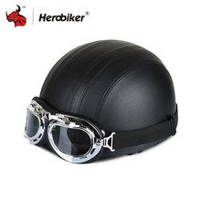 HEROBIKER Black Leather Vintage Unisex Kask Kaski Motocyklowe Pół Twarzy Kask Motocyklowy Visor & Gogle