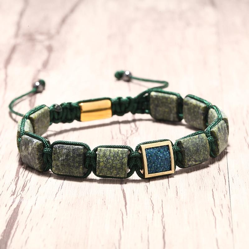 Mcllroy charms bracelet men natural stone inlay stingray handmade braided bracelets adjustable bangles couple erkek bileklik hot