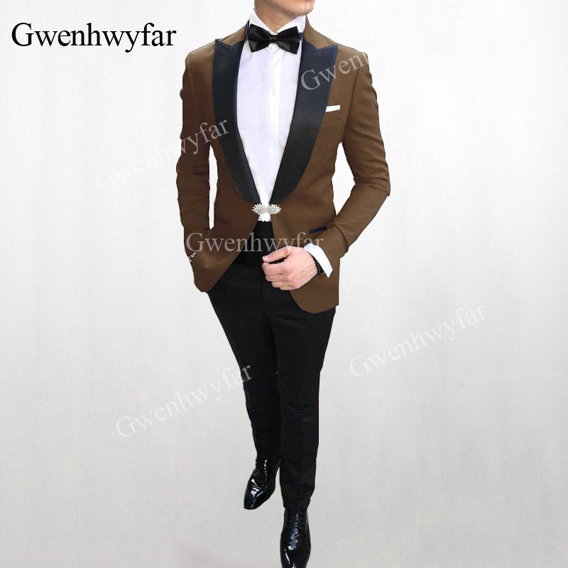 Groomsman Mariage Made Pour Custom En Revers dark grey Costume Nouveau Bal Cristal green navy Meilleur Homme Bouton Bugundy Hommes brown 2019 Green burgundy red De v Costumes Slim G Blue purple Pointe qEX5a6xw6