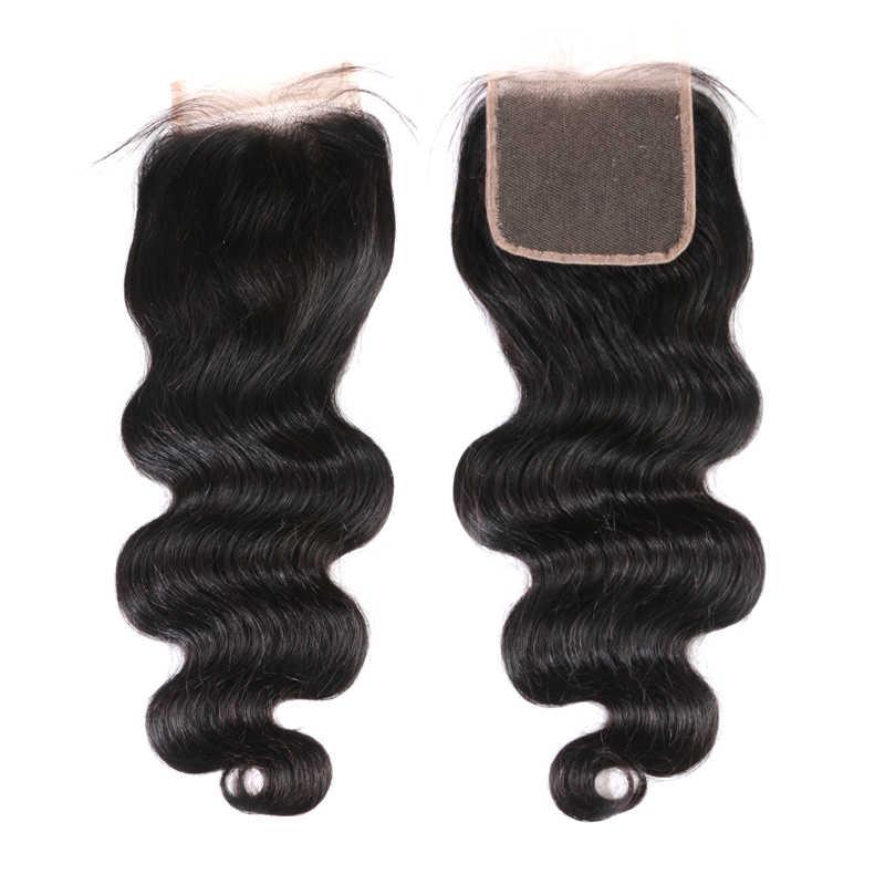 Ali Queen Hair 3/4Pcs Peruvian Body Wave Remy Hair Bundles With Closure Free Part Bundles With HD Transparent Lace Closure