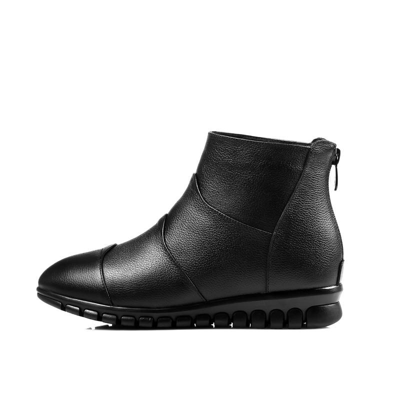 Salu De Cuir Femmes À Fourrure D'hiver Doux Talon En La Bottes haute Véritable Confortable Chaussures Coins Cheville Noir Laine Main rpCwqr