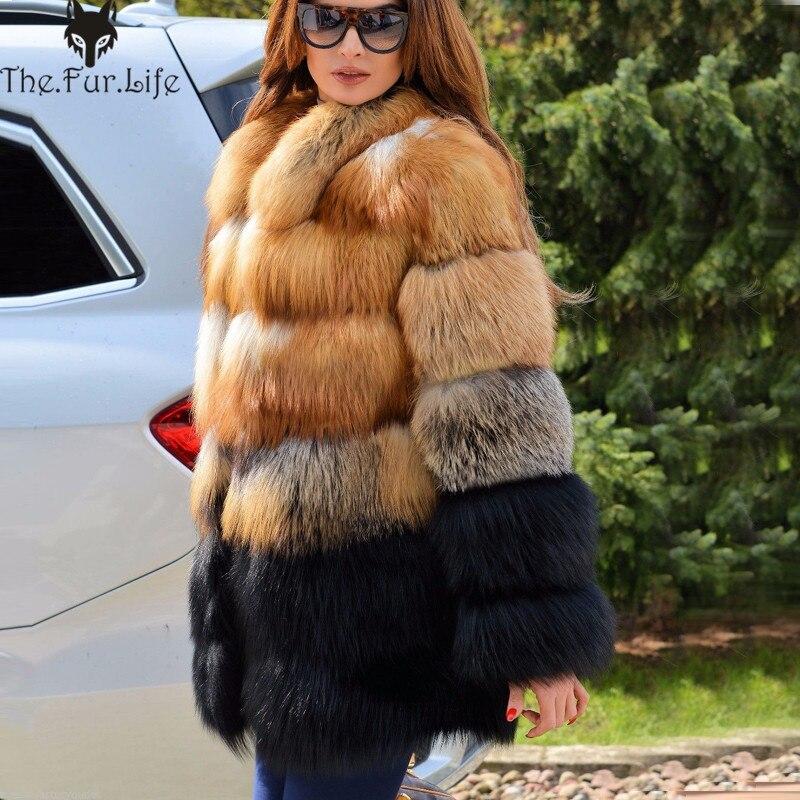 Di lusso Reale della Pelliccia di Fox del Cappotto Del Collare Del Basamento Caldo Per Le Donne di Spessore Completa Coat Pelt Pelliccia di Volpe Giubbotti Grande Promozione Calda vendita