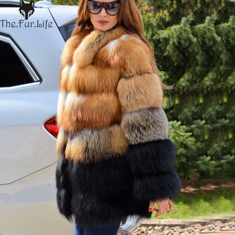 Luxury Real Fourrure De Renard Manteau col montant de Chaud Pour Femmes Épaisse Pleine Pelt Fox vestes en fourrure Grande Promotion offre spéciale