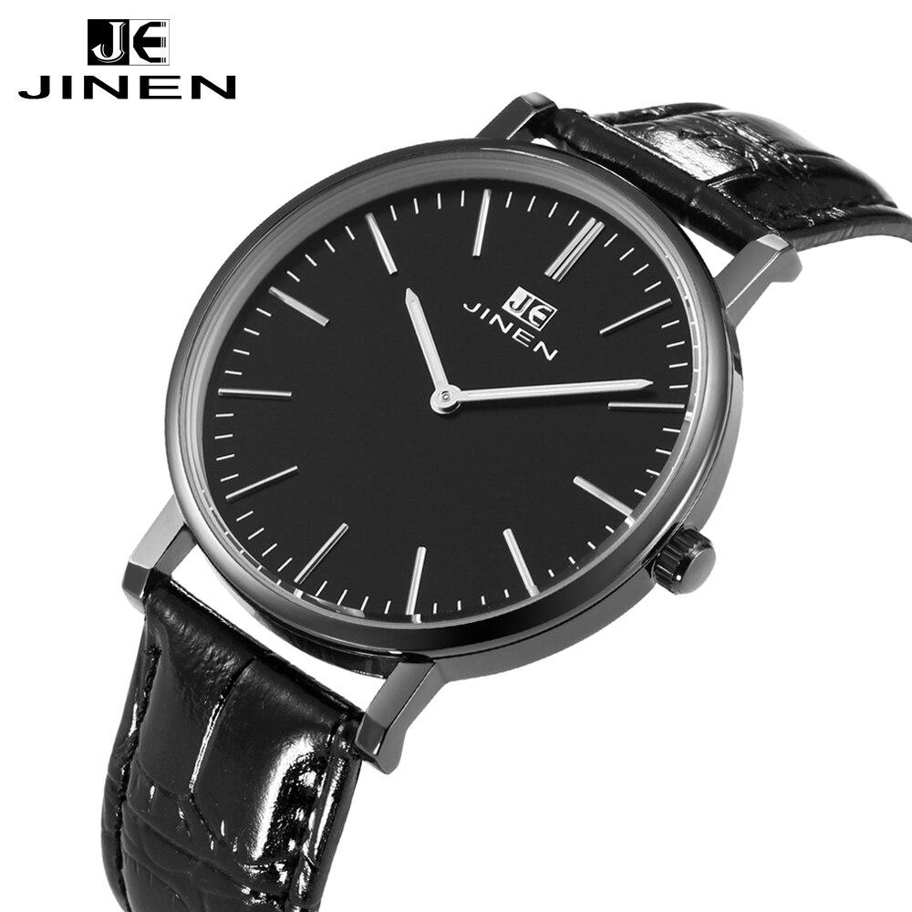 JINEN Men Fashion Leather Strap Watch Ultra-thin Case Classic Casual Luminous Analog Business Quartz Wristwatch 247 classic leather