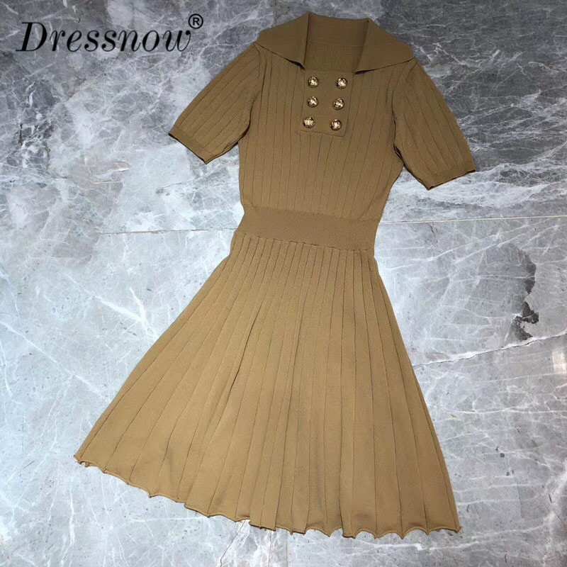 High Quality Dresses for Women Short Sleeve A-line Solid Dresses for Party Summer Vintage Sweater Dress