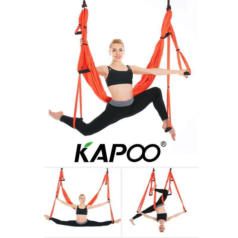 KAPOO Antigravity Aerial Yoga Hammock/Trapeze/Yoga Inversion Exercises Full set Yoga Gym strap yoga Swing Set Indoor Workout 16 colors inversion trapeze anti gravity aerial traction yoga gym strap yoga swing set strength decompression yoga hammock suits
