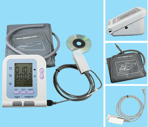 Digital Arm Blood Pressure Monitor 08C + SPO2 Probe, Heart Beat Meter, Sphygmomanometer with Oximeter function, Free shipping ems free ship contec08a digital infant use blood monitor cuff spo2 probe