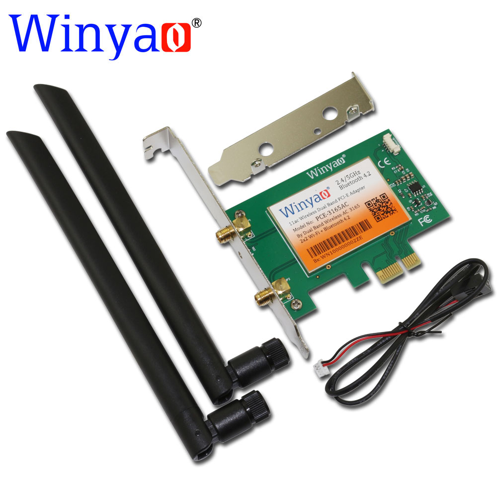 Winyao PCE-3165AC Dual Band PCI-Express Desktop WiFi Adapter 3165AC 3165NGW 433Mbps Wireless PCI-E with Bluetooth 4.2 BT 11ac ...