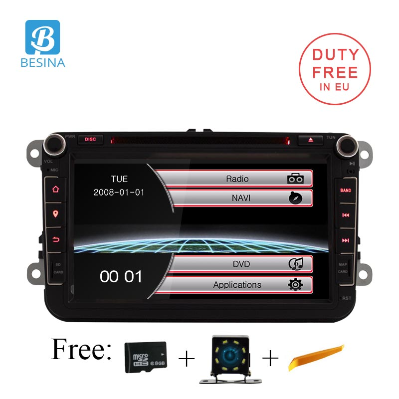 Besina 8 дюймов 2 din автомобильный DVD GPS Радио стерео плеер для Volkswagen VW Гольф 6 touareg T5 passat B6 Sharan Touran Polo Tiguan сиденье