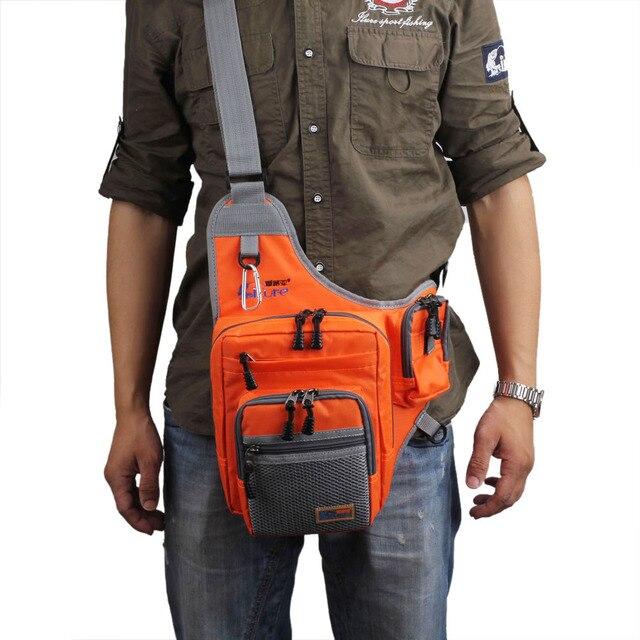 Cheap Ilure Fishing Bags Multi-Purpose Canvas Fishing Reel Lure Bag Bait Canvas Multi-purpose Fishing Tackles Bag Gear 32*39*12CM