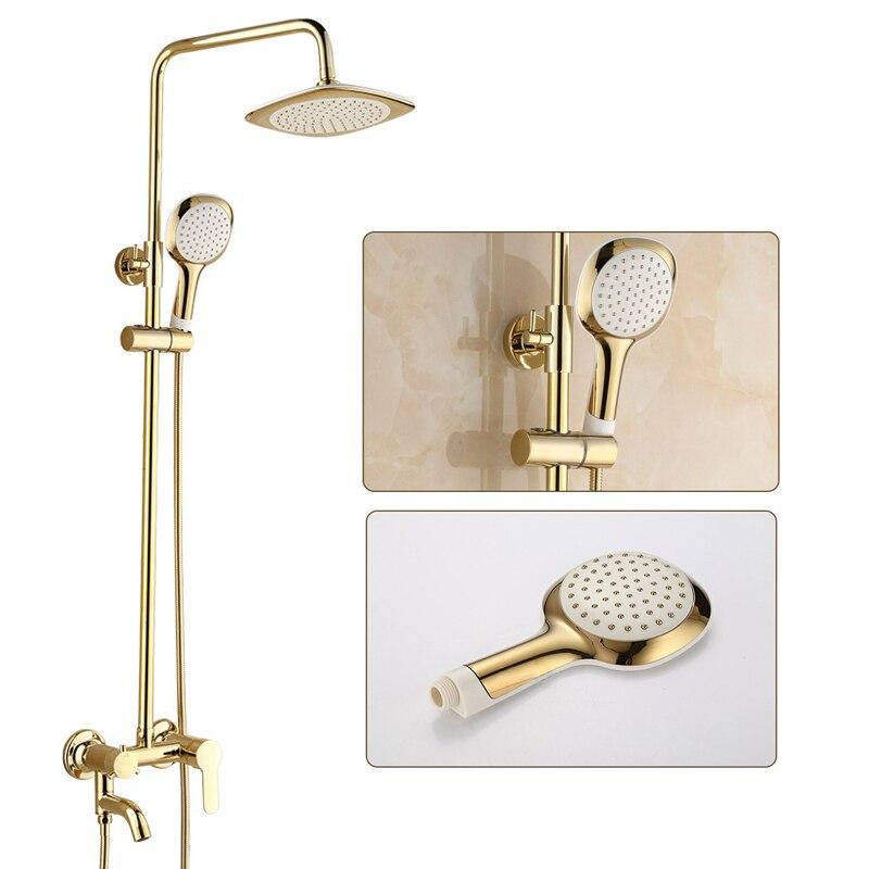 Luxus Gold Kupfer Dusche Set Bad Wasserhahn Mischbatterie Wand Montieren Hand Dusche Kopf Badewanne Auslauf Dusche Wasserhahn Dusche set