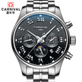 Carnival moon phase hot famous brand automatic mechanical watches men full steel multifunction waterproof genuine leather watch