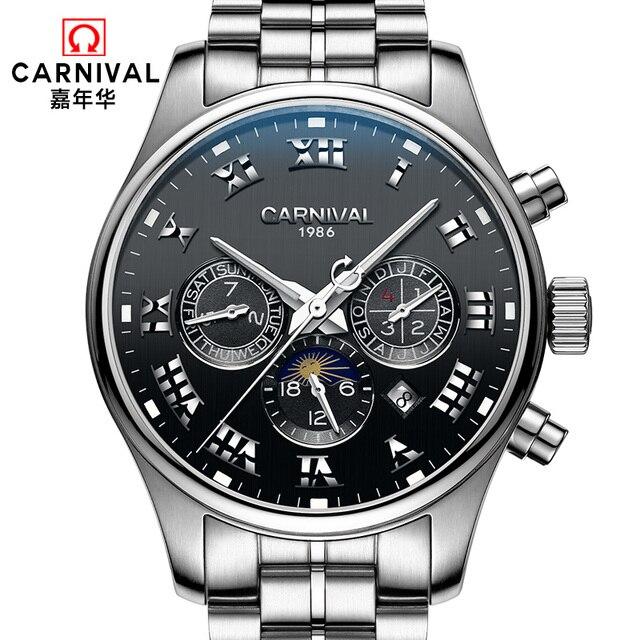 6d7486b4480 Fase da lua carnaval hot famosa marca mecânico automático relógios homens  completa aço multifuncional à prova