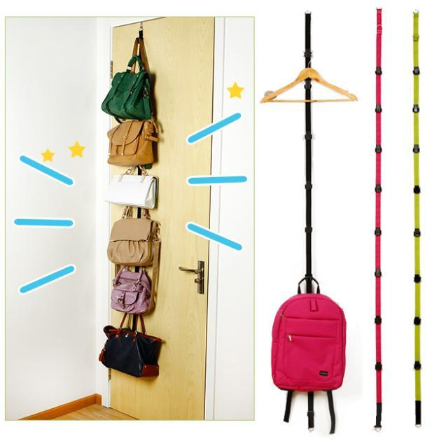 Bon Straps Hanger Adjustable Over Door Hat Bag Clothes Rack Holder Organizer 8  Hooks Estante De La
