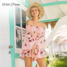 WildPinky 2019 Boho Floral Print Ruffles Playsuit Women Summer Fashion Off Shoulder Jumpsuit Romper Sexy Beach Short Overalls sexy off shoulder playsuit in random floral pattern