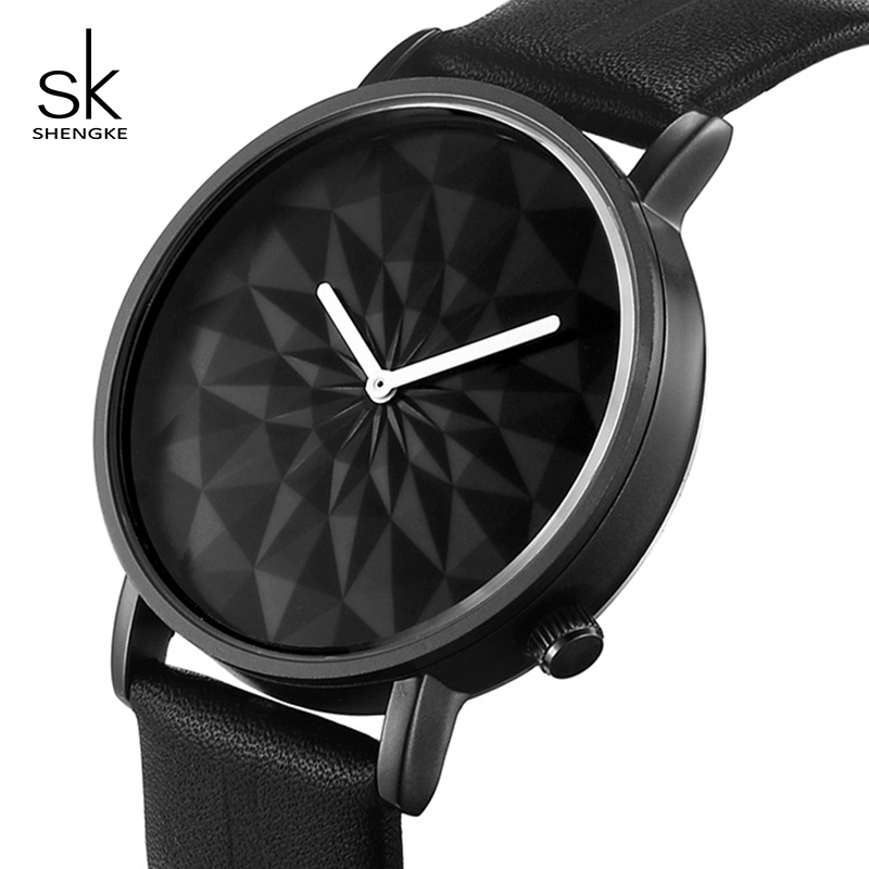 Shengke Brand Luxury Watches Women Casual Leather Strap Quartz Watch Ladies Creative Dial Wristwatch 2018 SK Female Gift #5037 matisse fashion austria crystal snowflake rotatable dial leather strap buiness quartz watch wristwatch rosegold