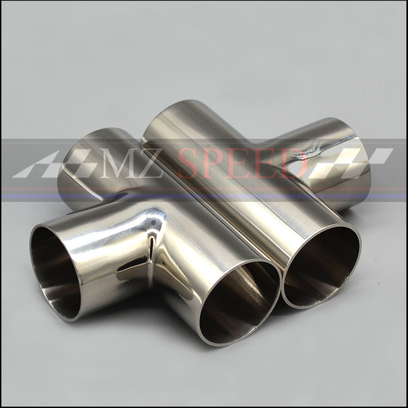 51mm 2inch 57mm 63mm 76mm OD Sanitary Weld  T-typeThree links Pipe 304 stainless steel car exhaust pipe muffler welded pipe