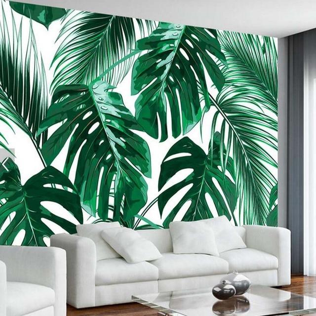 Southeast Asia Tropic Tree Banana Leaf Wallpaper Mural For Living Room TV Background Wall Deocative Custom