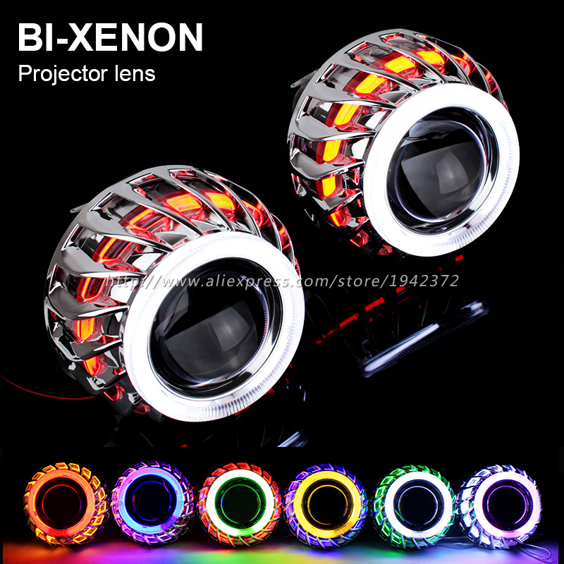 Double Angel Eyes Halo HID Bixenon Lens Projector Headlight 2.8 Inch 2 PCS Headlamp Lenses H4 H7 9005 9006 Car Styling