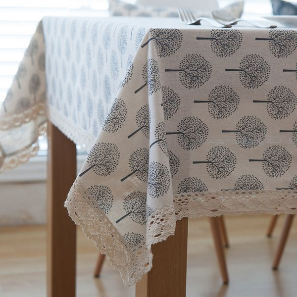 Cotton Linen Table Cloth Tree Print  Rectangle Coffee Table Cover Tablecloth with Lace Edge manteles para mesa ZB-61
