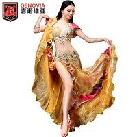 Women Luxury Belly Dancing Costume 3 Piece Suit Bra Belt Skirt 2018 New Arrival Belly