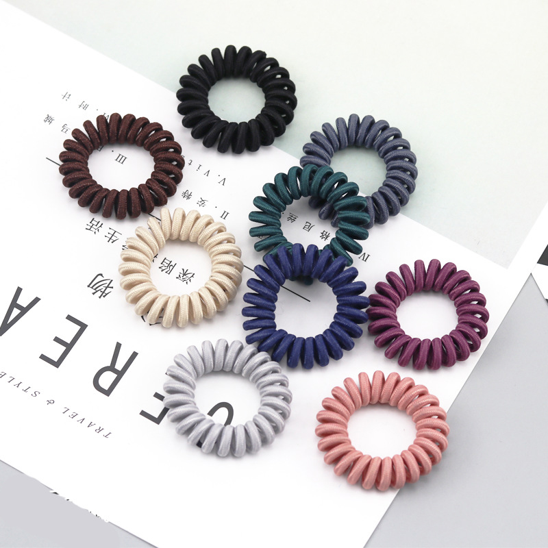 Multicolor Elastic Hair Bands Women Girls Spiral Shape Ponytail Hair Ties Rubber Band Hair Rope Telephone Wire Hair Accessories