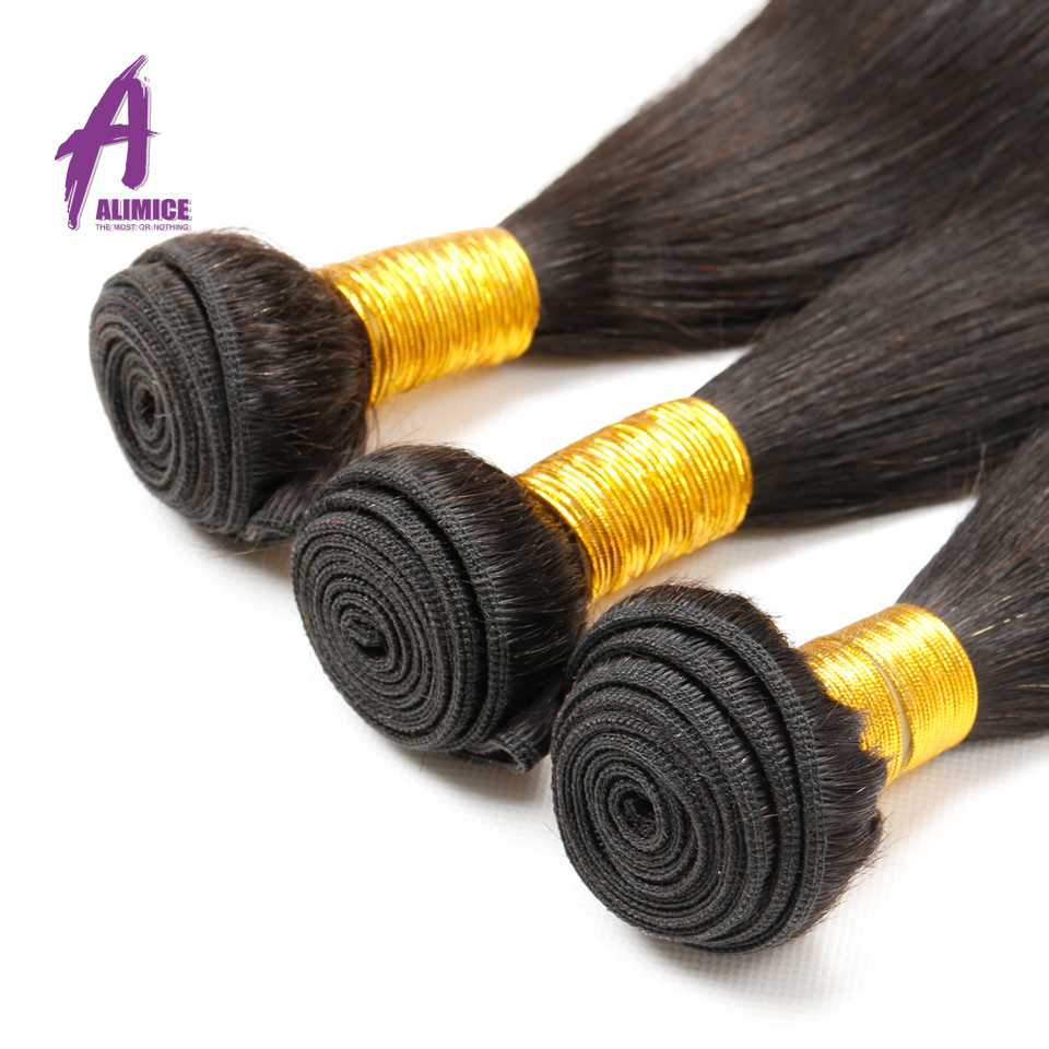 Alimice 인도 스트레이트 헤어 위브 100 % 인간의 - 인간의 머리카락 (검은 색) - 사진 5