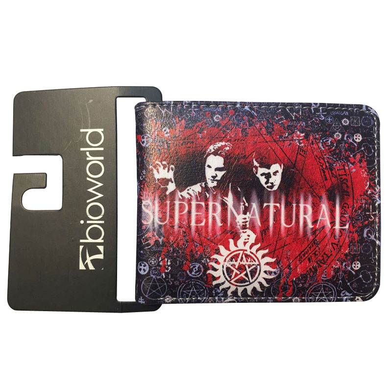 Bioworld Comics Supernatural Purse Anime Movie Super Natural Leather Wallet carteira Men Women Dollar Price Bag Short Wallets baellerry small mens wallets vintage dull polish short dollar price male cards purse mini leather men wallet carteira masculina