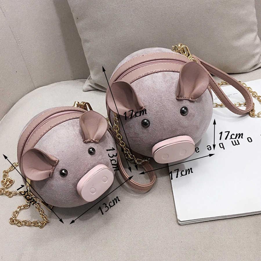 Mujeres divertido lindo gamuza Pu Lather redondo cerdo Bolsa hombro mensajero bolso señoras pequeña cadena monedero muñeca mujer Crossbody bolsas