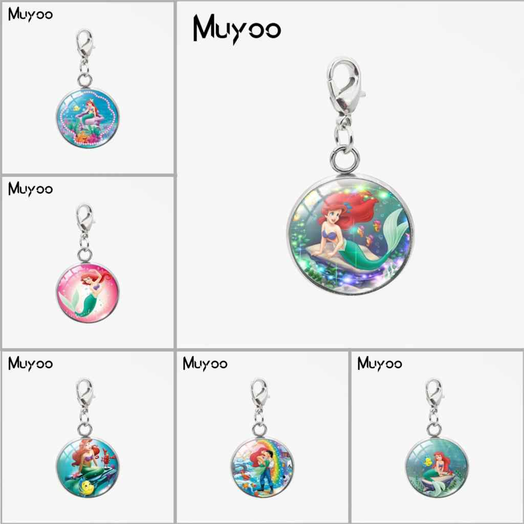 Beauty Little Mermaid Ariel Princess Design Round Charms with Lobster Buckle Sweet Lovely Mermaid Jewelry Car Bag Accessories