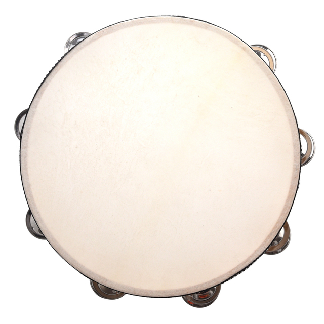 10 Inch Musical Tamborine Drum Wood Round Percussion Instruments For Children Educational Beginners