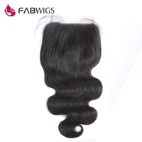 Fabwigs 5x5 Body Wave Lace Closure Brazilian Human Hair Bleached Knots Remy Hair Piece Free Shipping