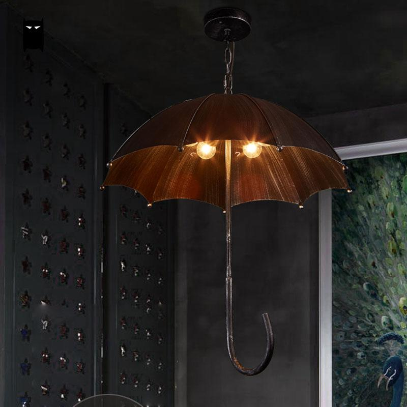 Black Wrought Iron Umbrella Shade Pendant Light Fixture Vintage Industrial Retro Art Hanging Ceiling Lamp Cafe Bar Restaurant vintage loft pendant ceiling light fixture retro hanging lamp shade bulb not included