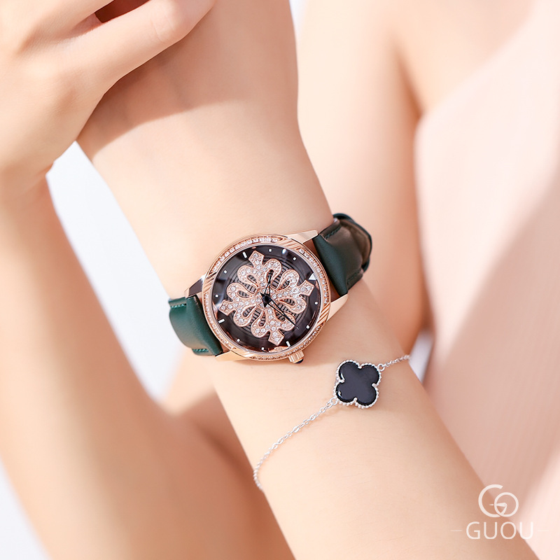 New Ladies Rotation Watch Women Rose Gold Rhinestone Casual Quartz Watches Fashion Leather Bracelet Clock Girl Gift reloj mujer duoya fashion luxury women gold watches casual bracelet wristwatch fabric rhinestone strap quartz ladies wrist watch clock