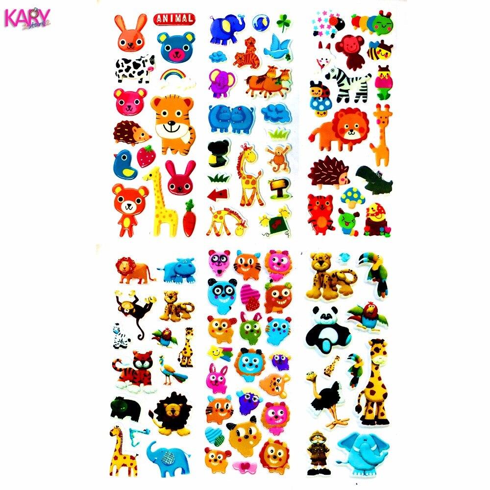 Cute Wildlife Wild Safari Park Animals Scrapbooking Bubble Puffy Stickers 6 Sheets Kawaii Emoji Reward Kids Toys For Children 21