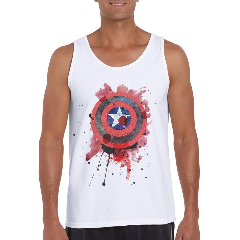 New Arrivals Gym   Tank     Top   Men Gym Clothing Sleeveless Hipster white Vest Bodybuilding Captain America Print Camiseta Sin Mangas