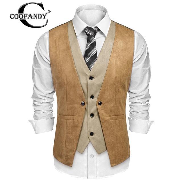 Spring AutumnVest Contrast Men Business Neck Strap Vest Casual Back COOFANDY