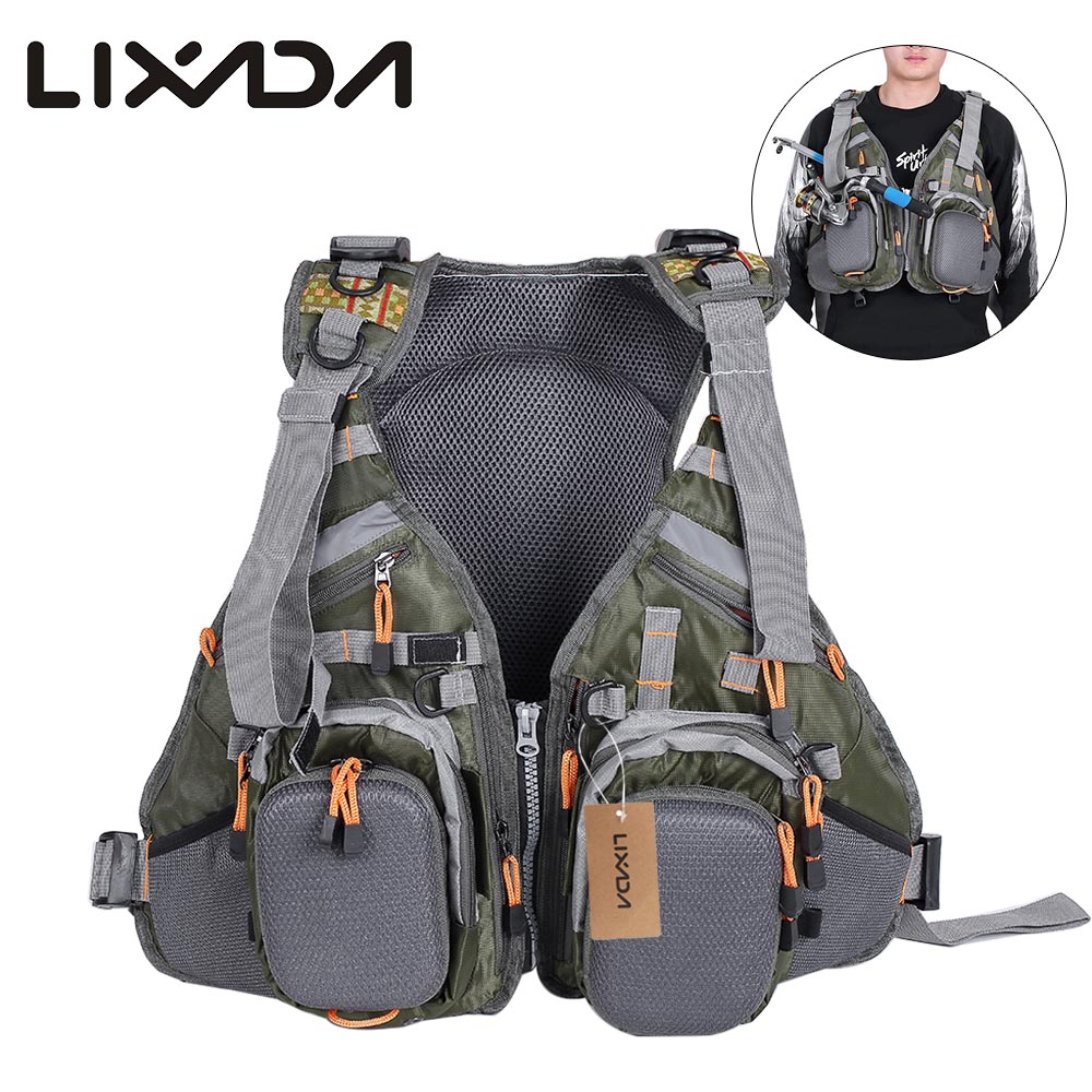 Lixada 3 In 1 Mesh Fly Fishing Vest and Backpack Breathable Outdoor Fishing Safety Life Jacket