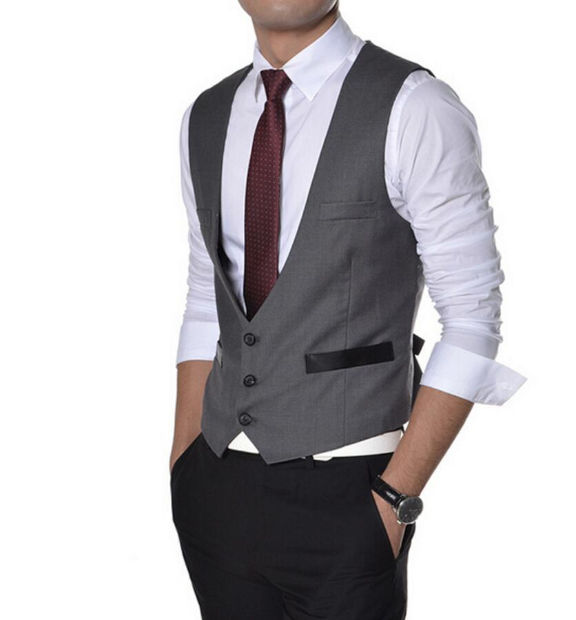 Gray Black Deep V-neck Office Suit Vest Formal Wedding Waistcoat Three Buttons AB0014