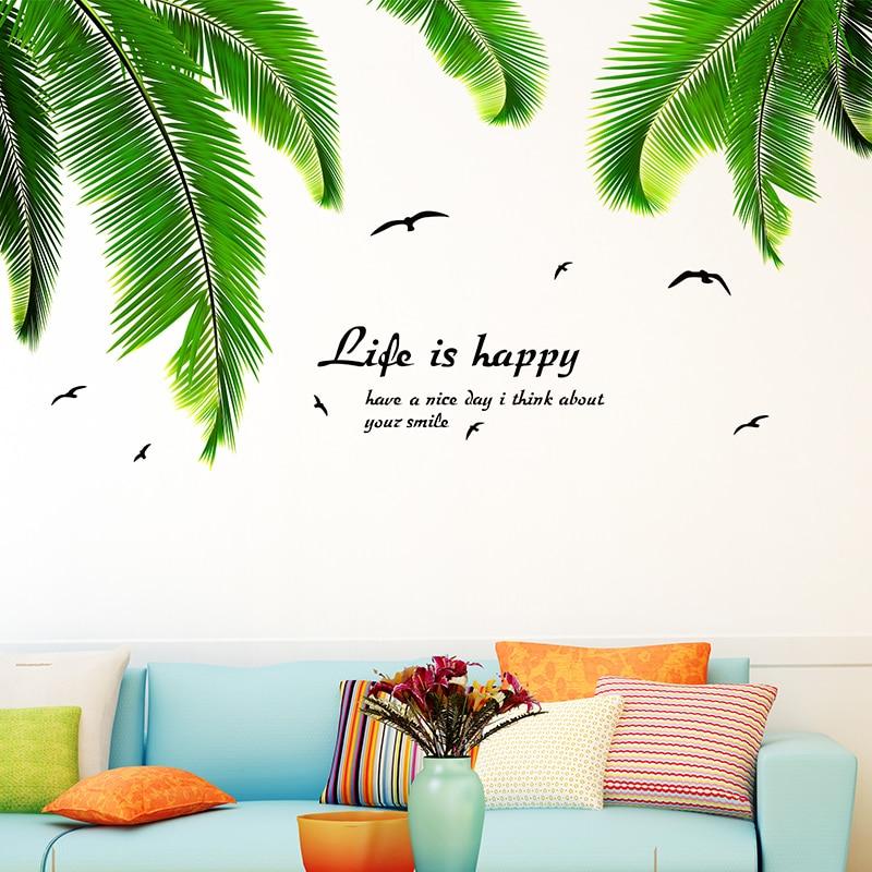 SHIJUEHEZI] Palm Leaves Wall Stickers Vinyl DIY Coconut Tree Leaves ...