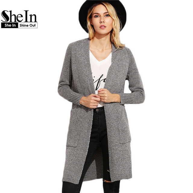 SheIn Women Sweaters and Knitwear Korean Style Fall Fashion Knit Sweater  Heather Grey Raglan Sleeve Long 4e676d94f
