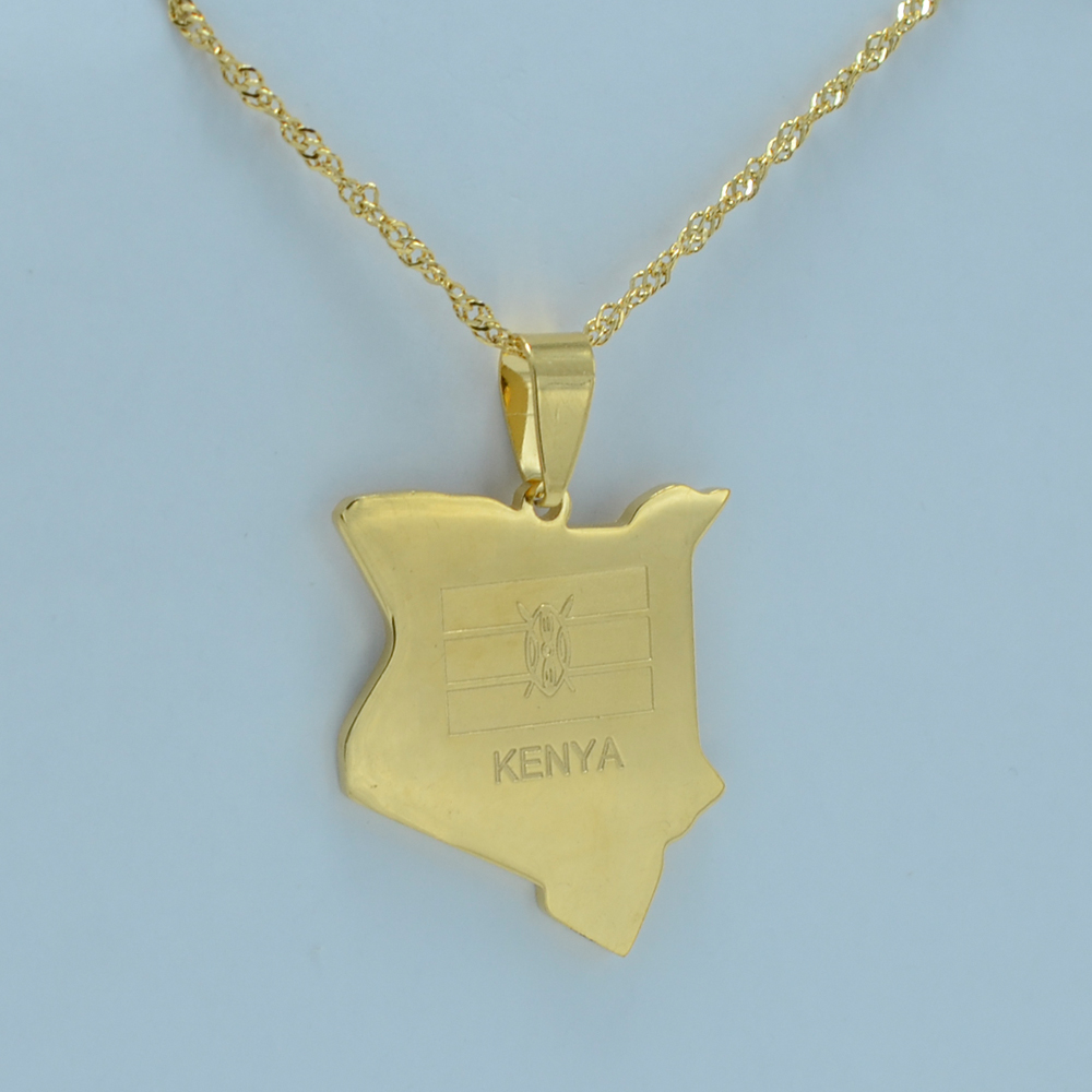 Anniyo map of kenya pendant necklaces jewellery gold color africa