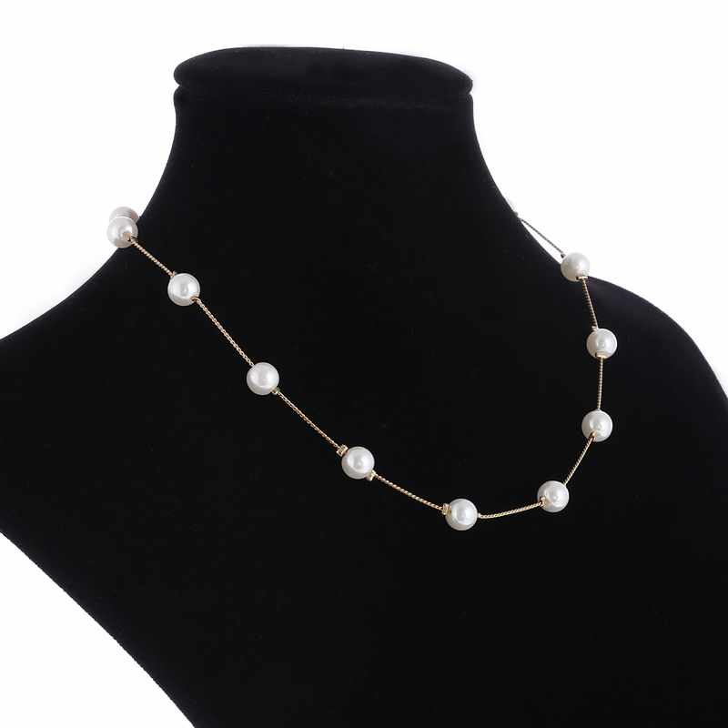 2019 Simulated Pearl Necklace Top Quality Anti-Allergy Wholesale Gold Color Statement Necklace Chain Wholesale Pearl Jewelry