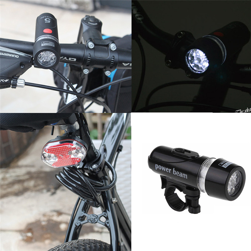 Rear Safety Flashlight Set Waterproof 5 LED Lamp Bike Bicycle Front Head Light