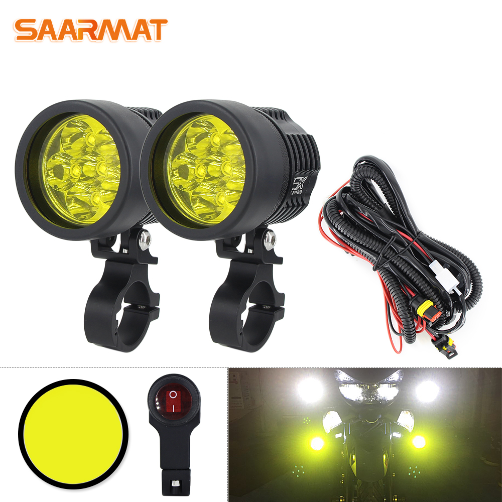 Double Colors led strobe motorcycle headlight Fog DRL lamp car Universal Motorbike ATV bulb High Brightness Yellow white 12V