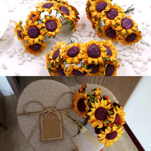 Artificial Flower Mini Sunflower for gift box diy decor paper flowers scrapbooking 10pcs/ Bouquet 3*8CM