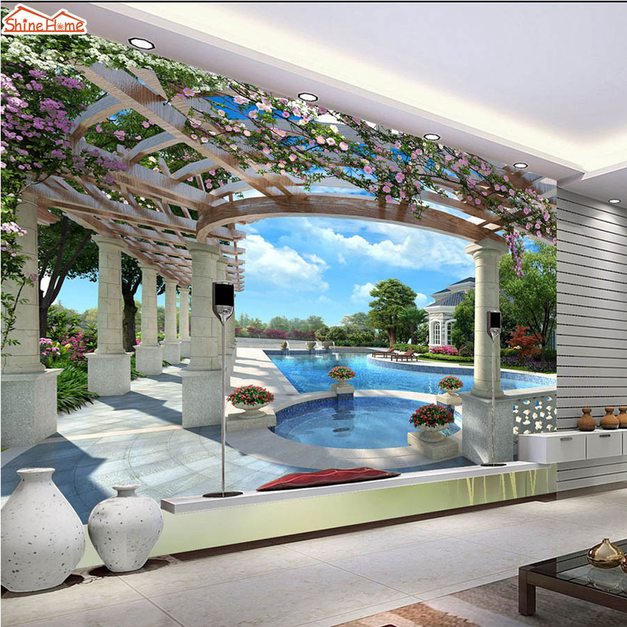ShineHome-Large Custom Swimming Pool Tree Wallpaper Mural Rolls for Living Room 3 d TV Background House Wall Paper Mural Rolls custom environmental 3d stereoscopic large mural wallpaper fabric wall paper living room tv backdrop of the sea smooth sailing