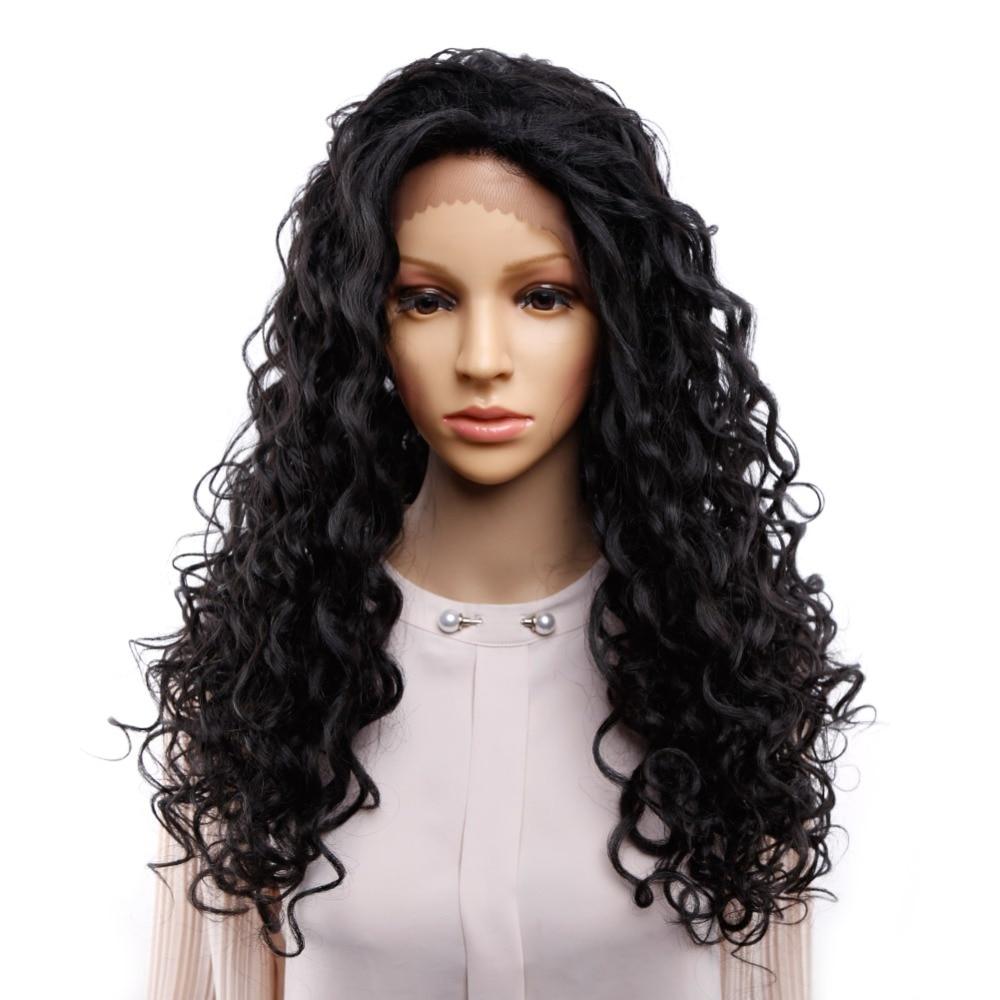 Amir Long Afro crépus bouclés perruque synthétique avant dentelle perruques pour femmes couleur noire cheveux résistant à la chaleur