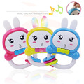 Cute Rabbit Baby Toy Rattles with Luminous Ears Educational Baby Music Toys Juguetes Hot Kids Gift Free Shipping