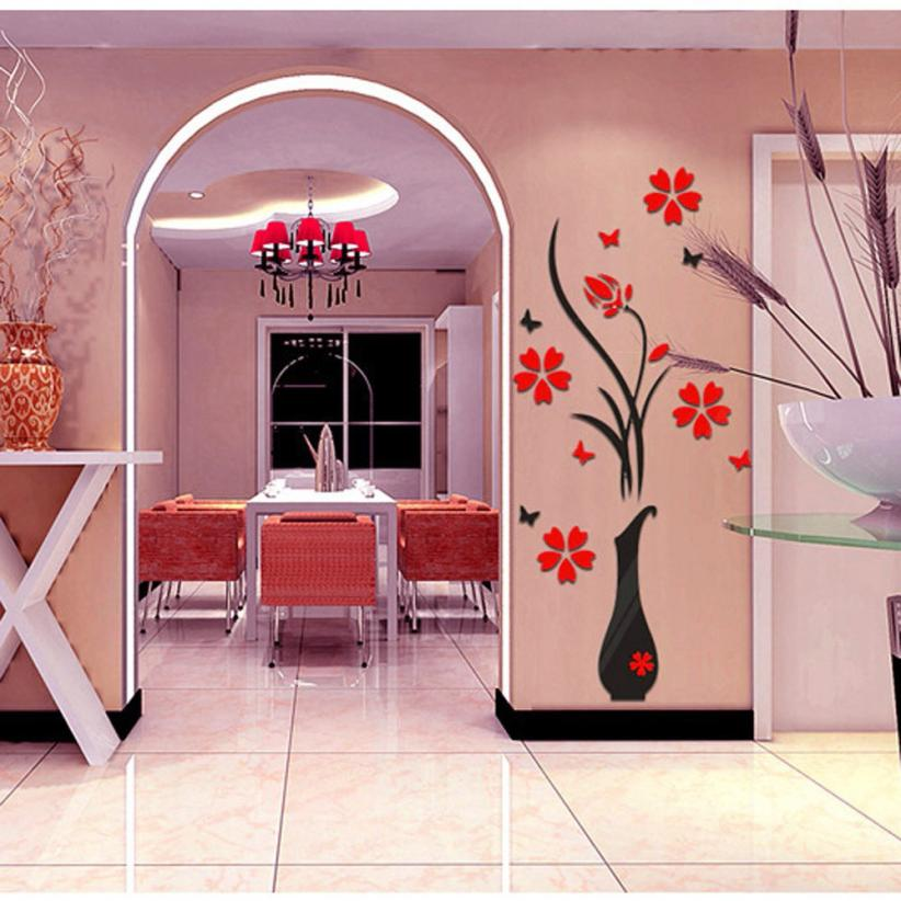 3D Vase Flower Removable Wall Vinyl Decal Art Home Decor Wall ...